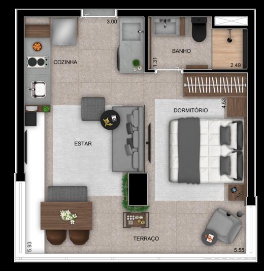 Planta 01 - 35m² - studio