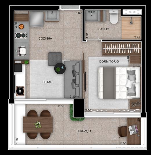 Planta 02 - 35m² - studio