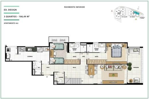 Planta 02 - 2 dorm 186 49m² - cobertura