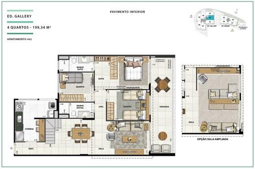 Planta 03 - 3 dorm 199 34m² - cobertura