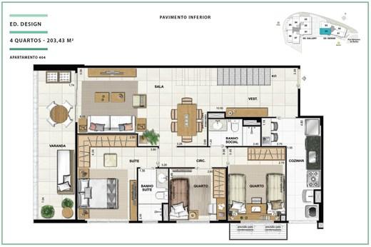 Planta 04 - 3 dorm 203 43m² - cobertura
