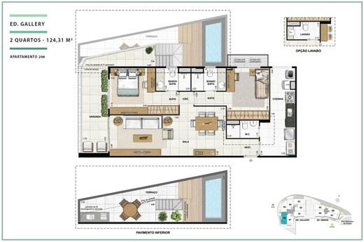 Planta 15 - 2 dorm 124 31m² - garden