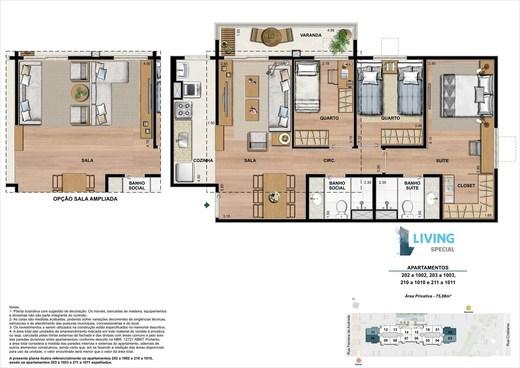 Planta 03 - 3 dorm 75 88 m²