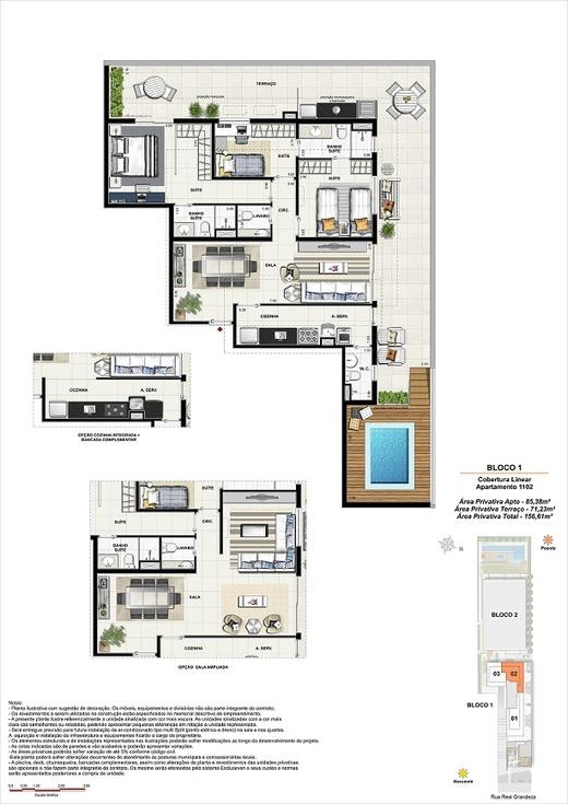 Planta 15 - 3 dorm 156 61m² - cobertura