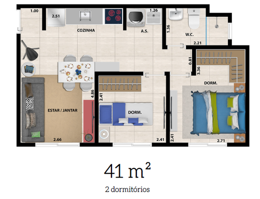 Planta 01 - 2 dorm 41m²
