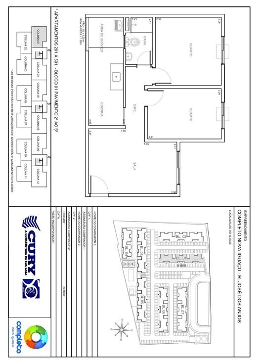 Planta 01 - 2 dorm 45 87m²