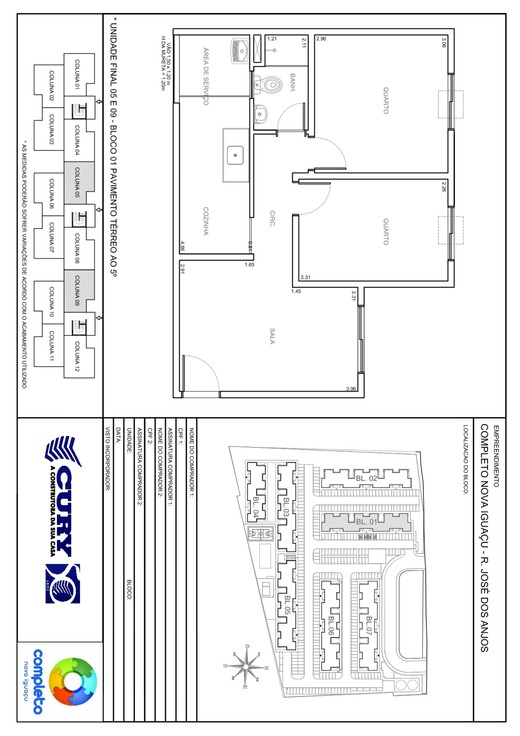 Planta 02 - 2 dorm 45 87m²