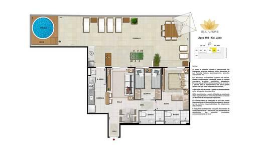 Planta 06 - 2 dorm 122m² - garden