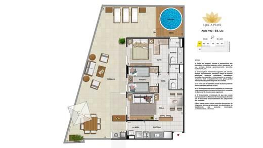 Planta 08 - 2 dorm 140m² - garden