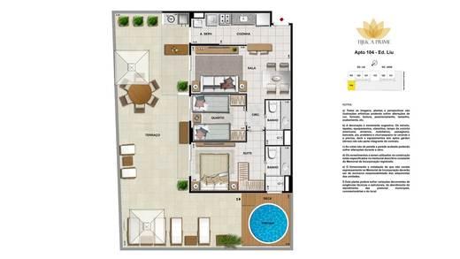 Planta 09 - 2 dorm 120m² - garden