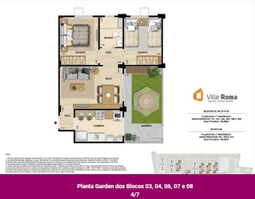 Planta 03 - 2 dorm 60 58m² - garden