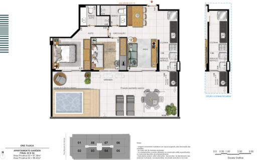 Planta 04 - 2 dorm 97 36m² - garden