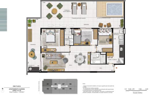 Planta 08 - 3 dorm 140 94m² - garden