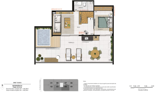 Planta 10 - 3 dorm 149 28m² - duplex superior