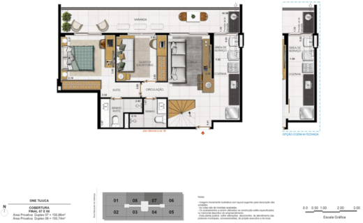 Planta 11 - 3 dorm 150 74m² - duplex inferior