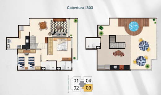 Planta 05 - 2 dorm 130 13m² - cobertura duplex
