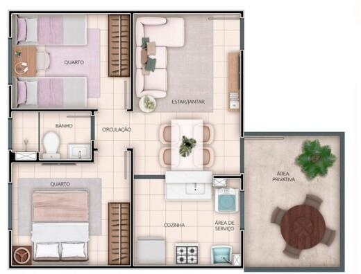 Planta 05 - 2 dorm 42 02m² - garden
