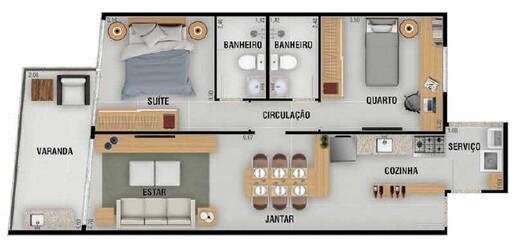 Planta 02 - 2 dorm 70 22m²