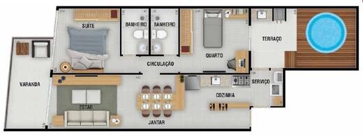 Planta 04 - 2 dorm 85 67m² - garden