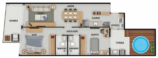 Planta 06 - 2 dorm 88 91m² - garden