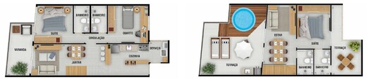 Planta 08 - 3 dorm 142 09m² - cobertura duplex