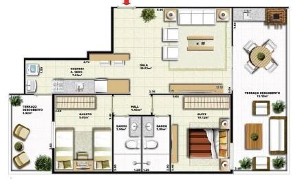Planta 03 - 2 dorm 85 30m² - garden