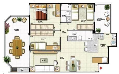 Planta 05 - 2 dorm 100 70m² - garden