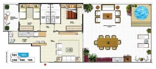 Planta 06 - 2 dorm 131 81 - garden