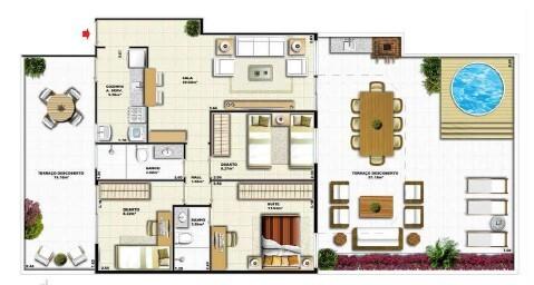 Planta 07 - 3 dorm 144 75m² - garden
