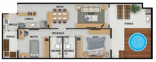 Planta 05 - 2 dorm 88 71m² - garden