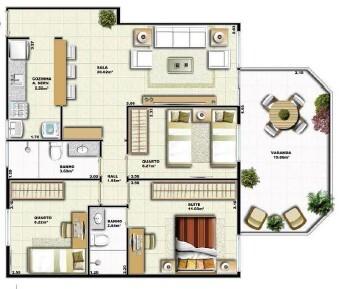 Planta 02 - 3 dorm 84 24m² - garden
