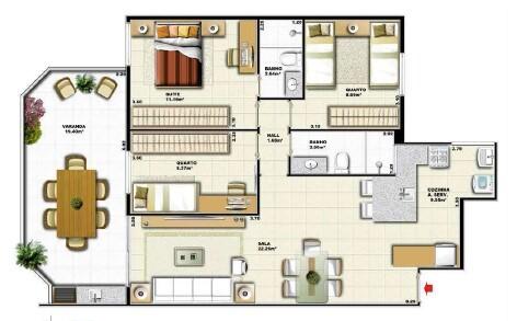 Planta 04 - 3 dorm 93 88m² - garden