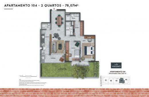 Planta 02 - 2 dorm 78 07m² - garden