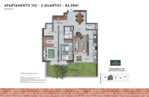 Planta 04 - 2 dorm 84 08m² - garden