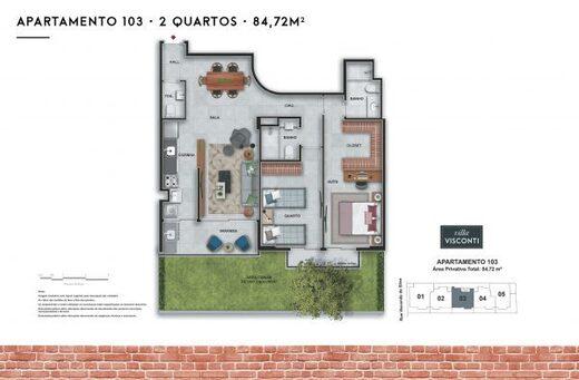 Planta 06 - 2 dorm 84 72m² - garden