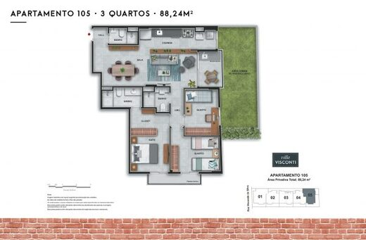 Planta 08 - 3 dorm 88 24m² - garden