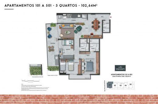 Planta 09 - 3 dorm 102 64m²