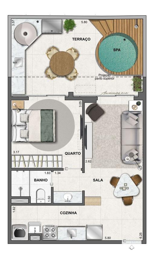 Planta 07 - 1 dorm 56 88m² - garden