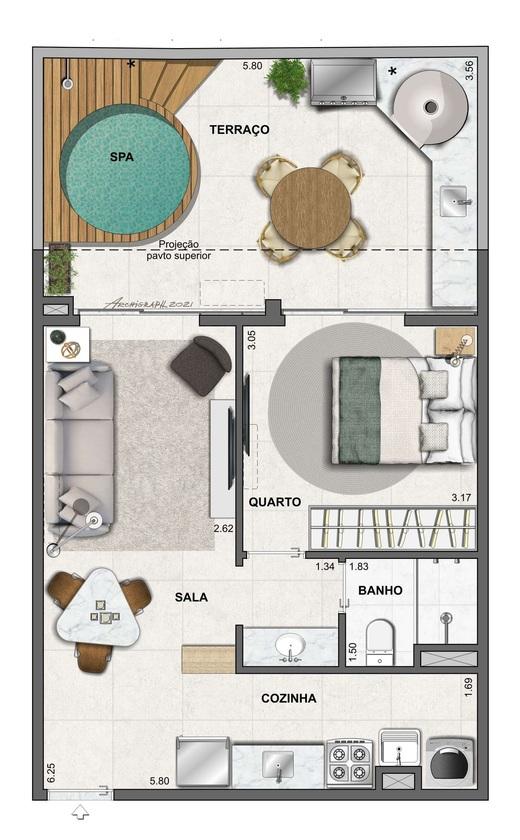 Planta 08 - 1 dorm 57 06m² - garden