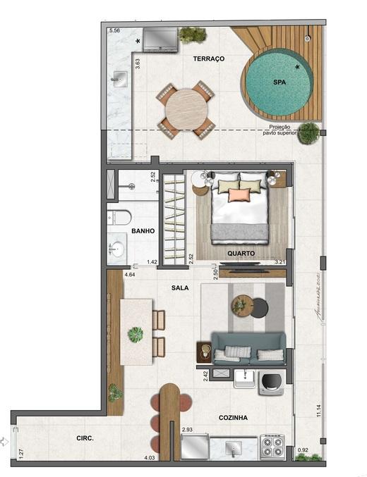 Planta 09 - 1 dorm 64 99m² - garden