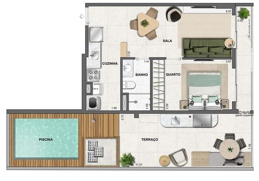 Planta 10 - 1 dorm 71 37m² - garden