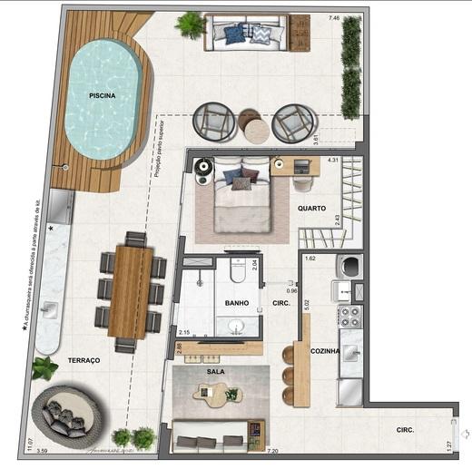 Planta 11 - 1 dorm 91 28m² - garden