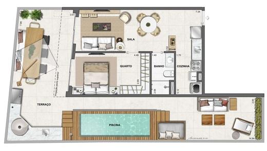 Planta 12 - 1 dorm 95 77m² - garden