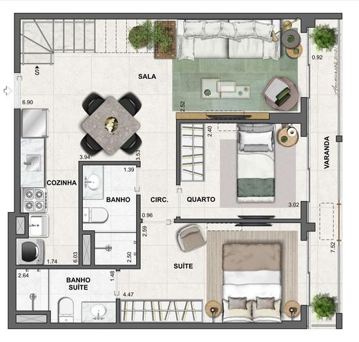 Planta 13 - 2 dorm 120 34m² - cobertura duplex - inferior