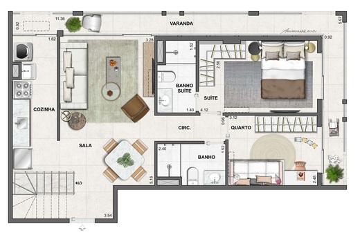 Planta 15 - 2 dorm 137 50m² - cobertura duplex - inferior