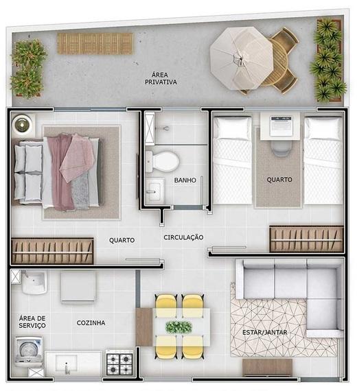 Planta 02 - 2 dorm 40 83m² - garden