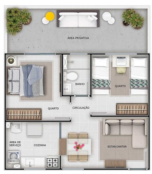 Planta 03 - 2 dorm 43 55m² - garden
