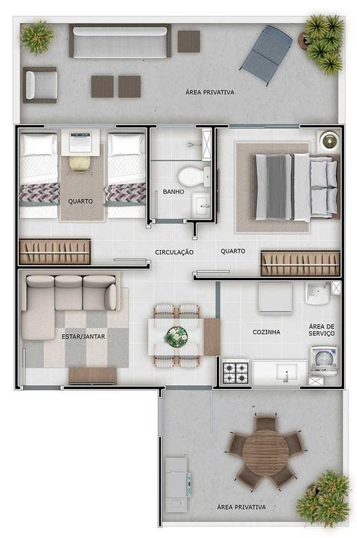 Planta 04 - 2 dorm 43 55m² - garden